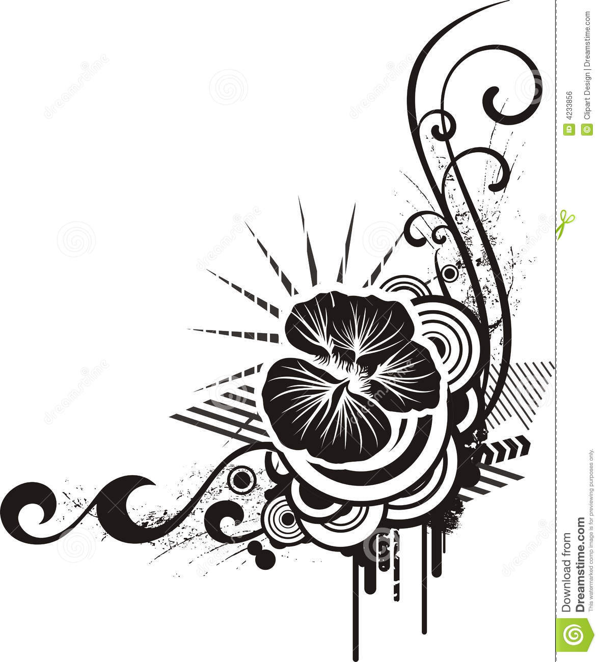 Black Amp White Floral Designs Stock Vector
