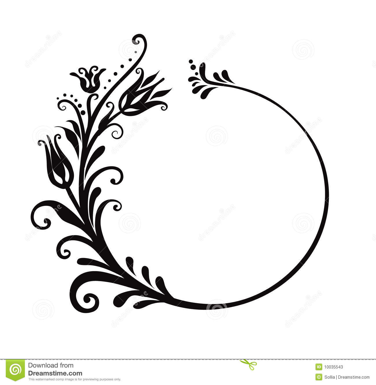 Black And White Floral Frame Stock Vector