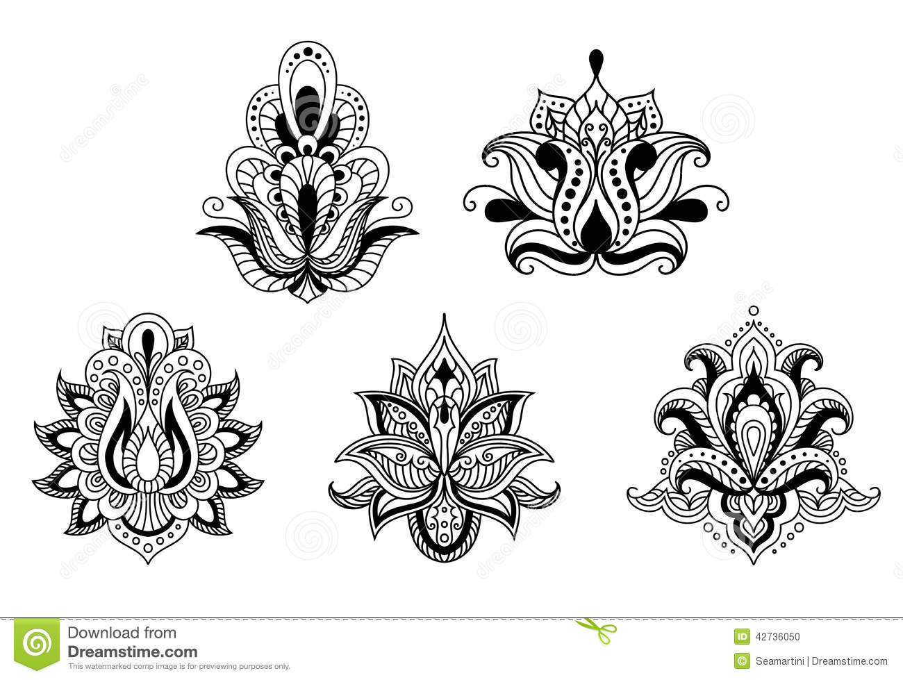 Black And White Floral Motifs Of Persian Style Stock