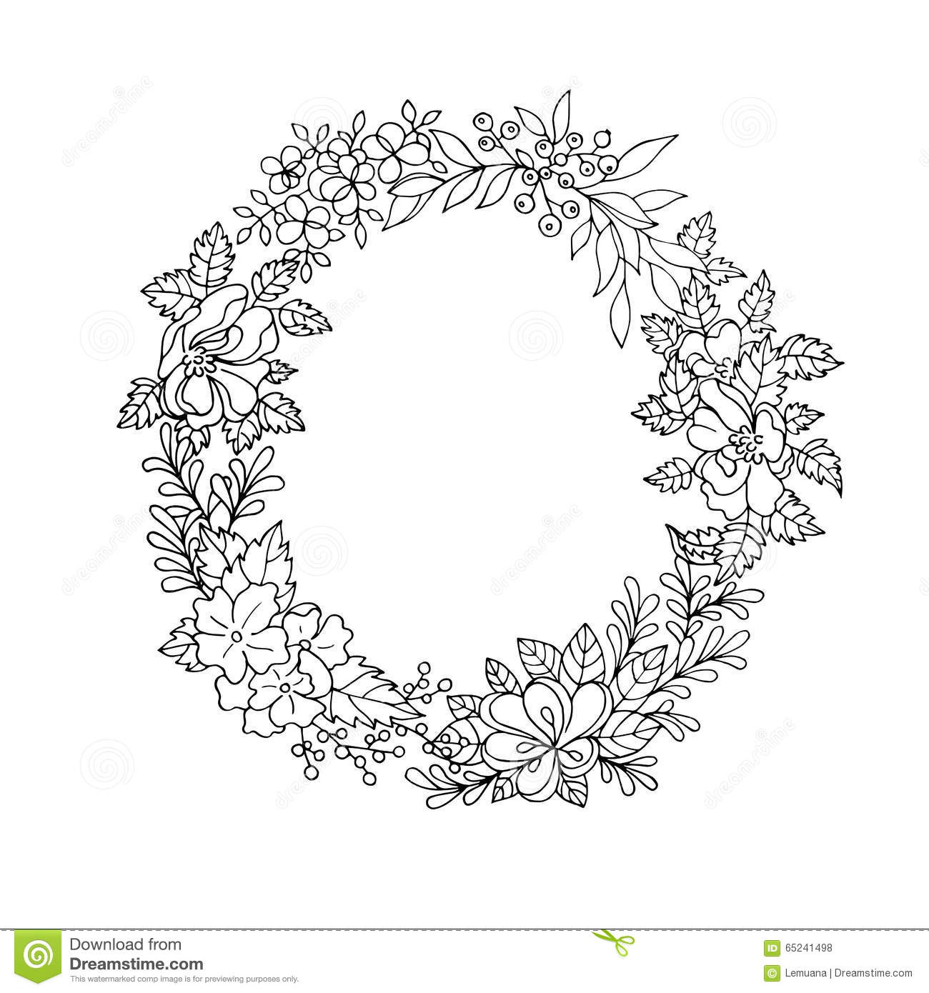 Black And White Flower Wreath Pictures To Pin