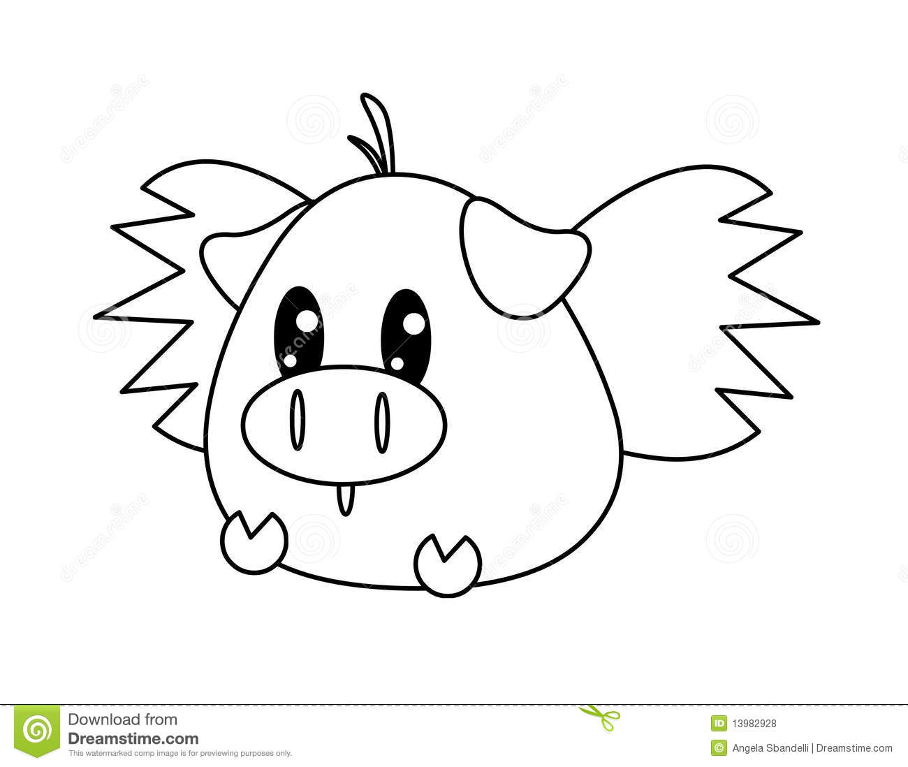 Black And White Flying Pig Royalty Free Stock Photos
