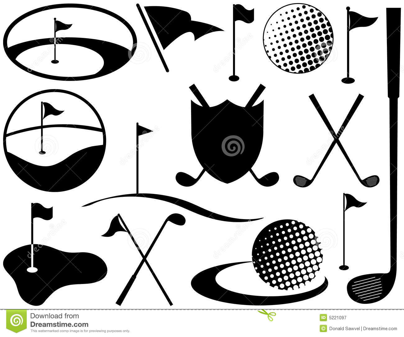 Black And White Golf Icons Stock Vector Illustration Of