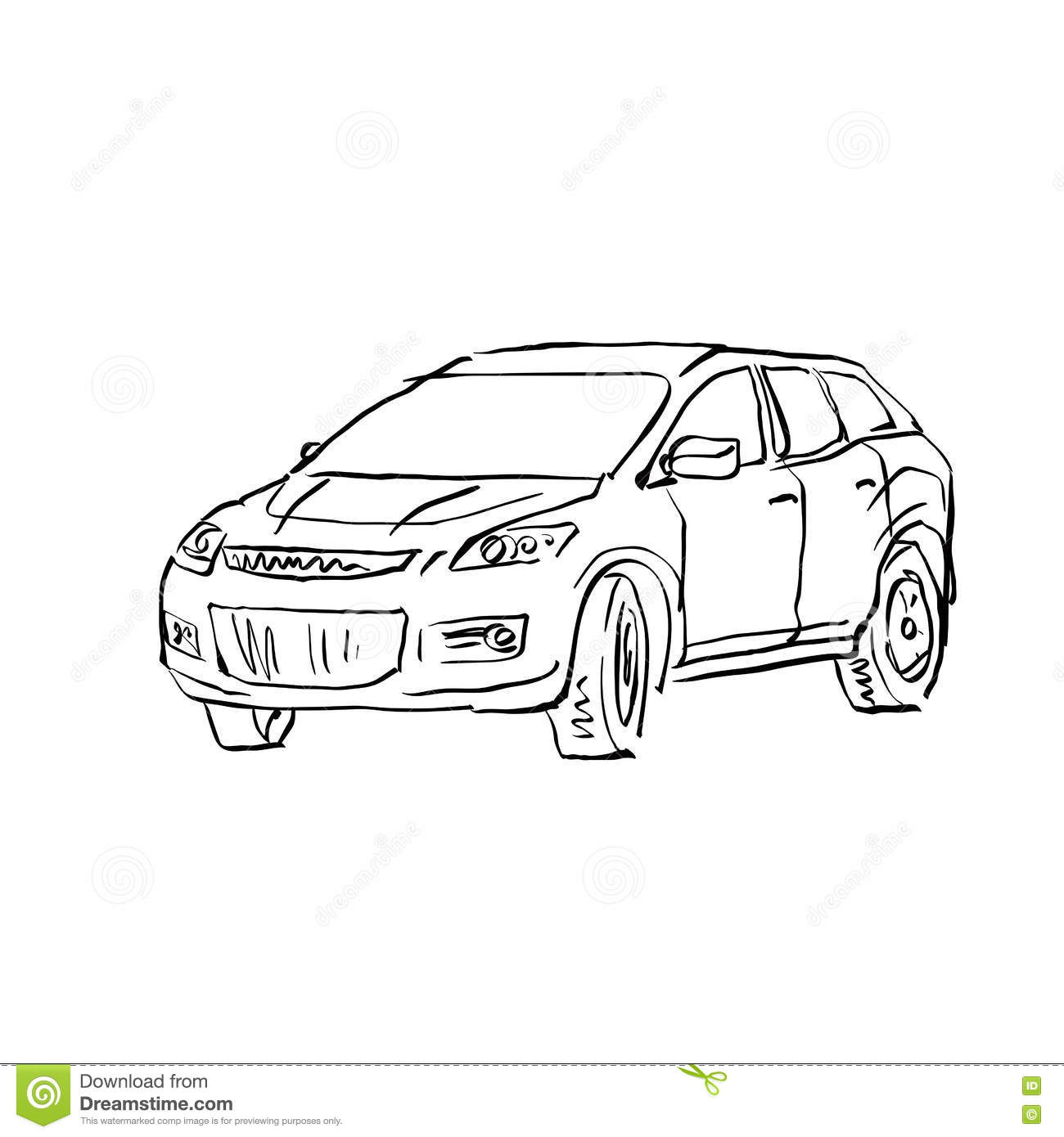 Monochrome Hand Drawn Car On White Background Cartoon