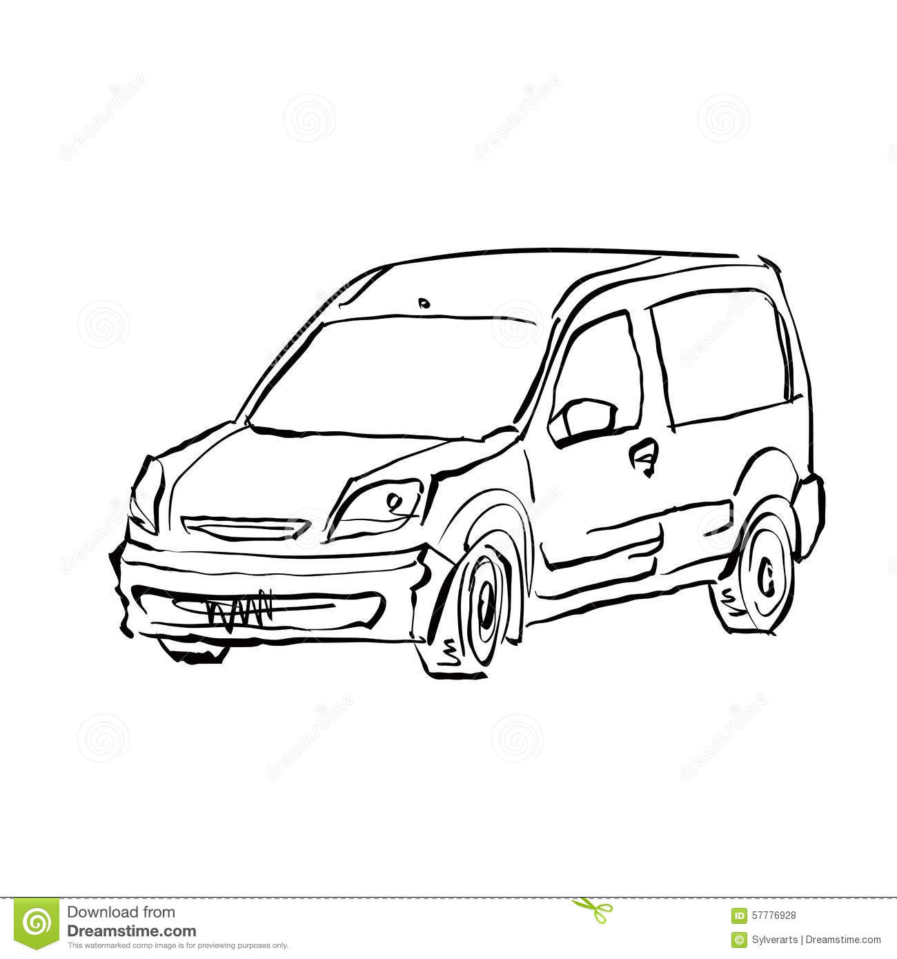Monochrome Hand Drawn Car On White Background Cartoon Vector