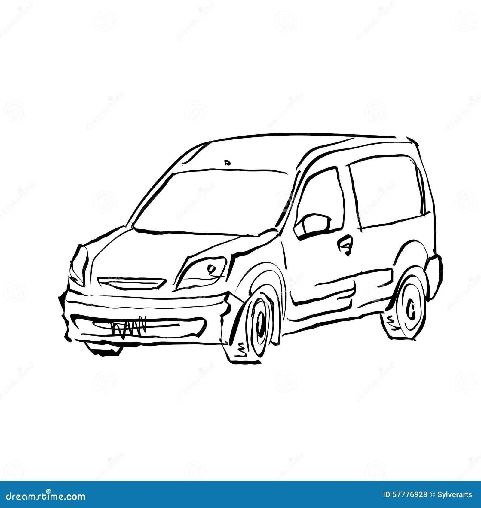 Monochrome Hand Drawn Car On White Background Cartoon