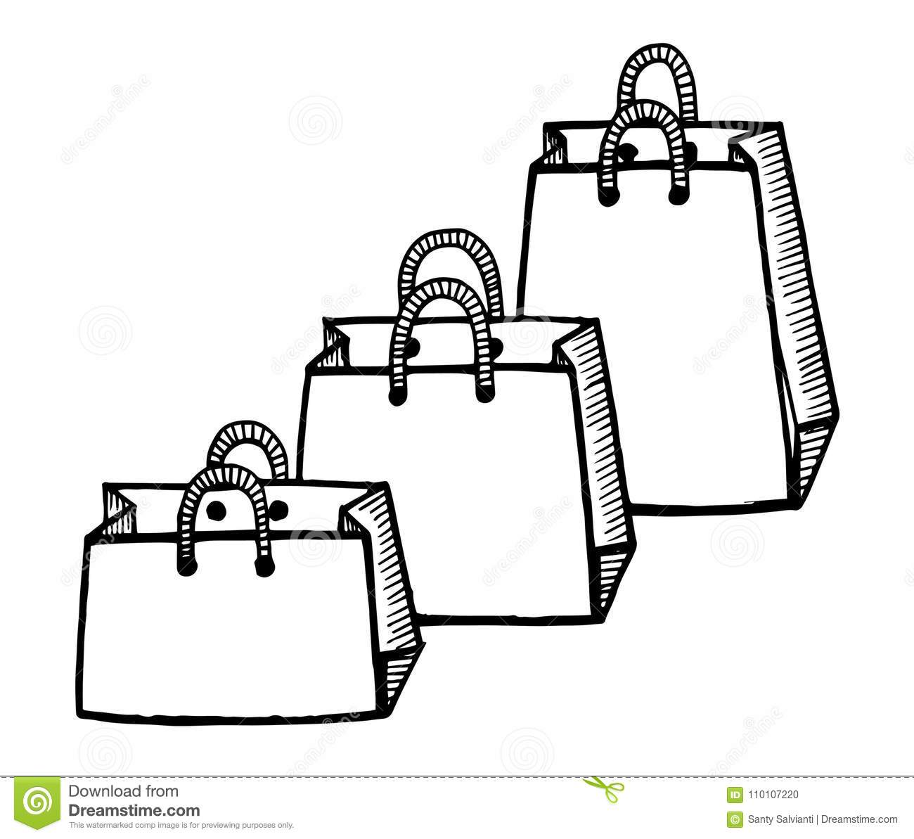 Black And White Hand Drawn Cartoon Doodle Style Shopping