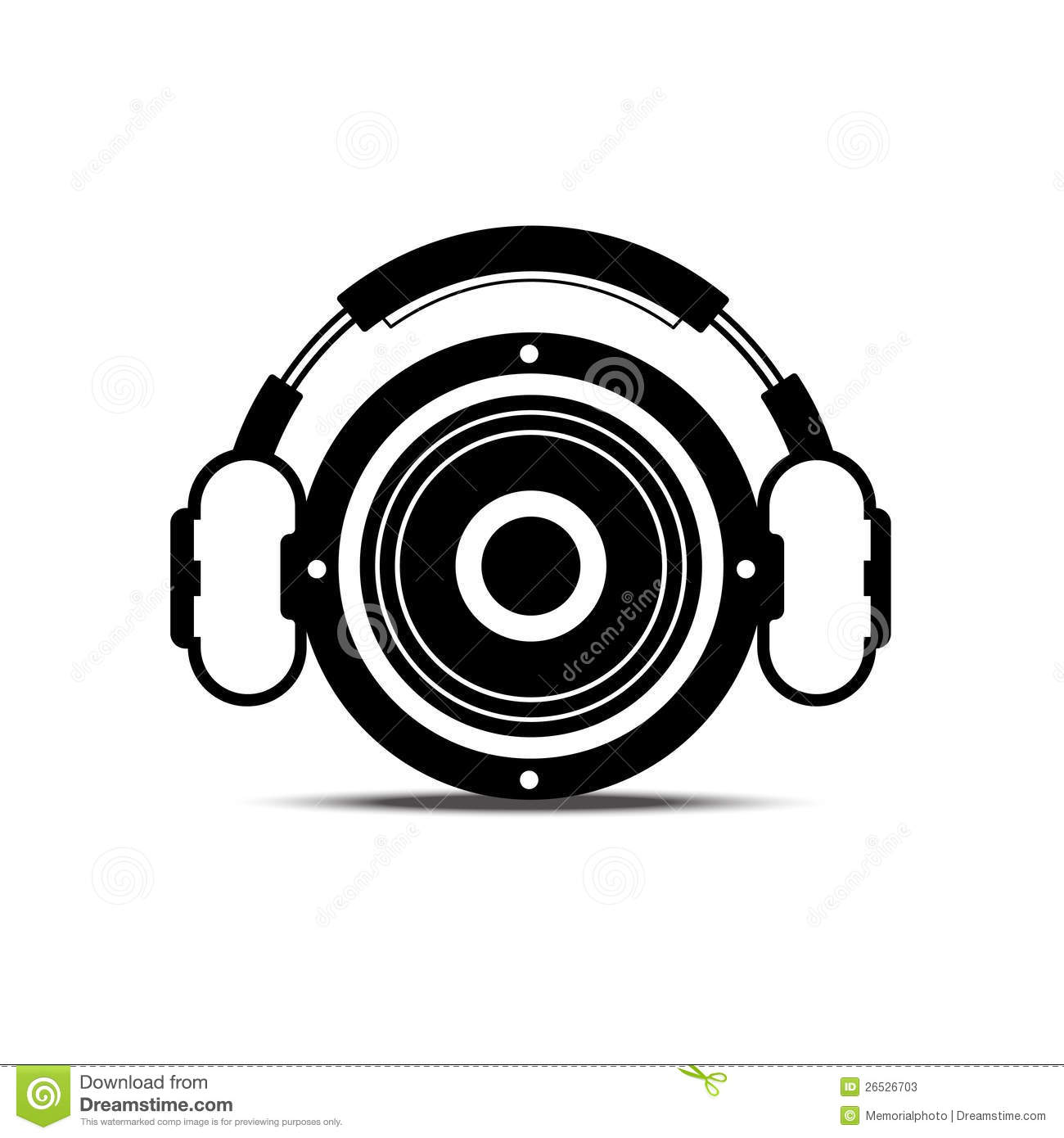 Black And White Headphone And Speaker Stock Vector
