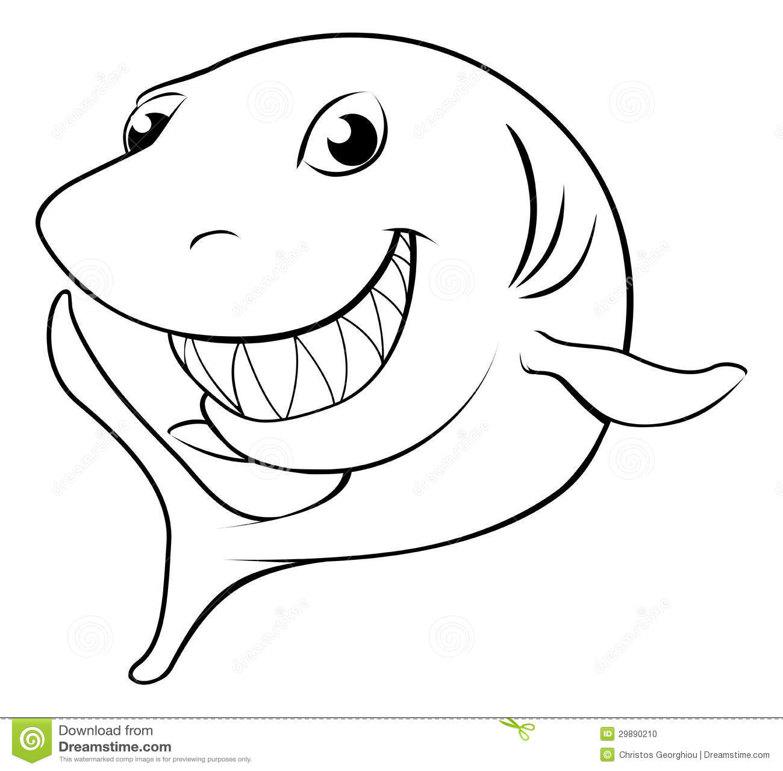 Happy Cartoon Shark Stock Vector Illustration Of Marine