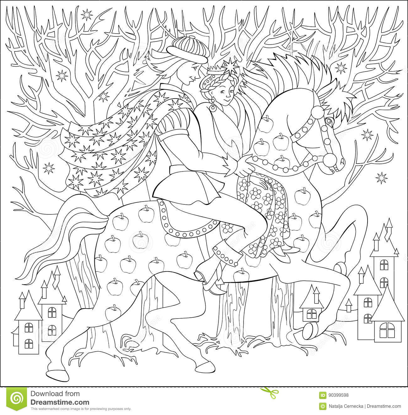 Black And White Illustration Of Prince And Princes Riding On Horse For Coloring Worksheet For