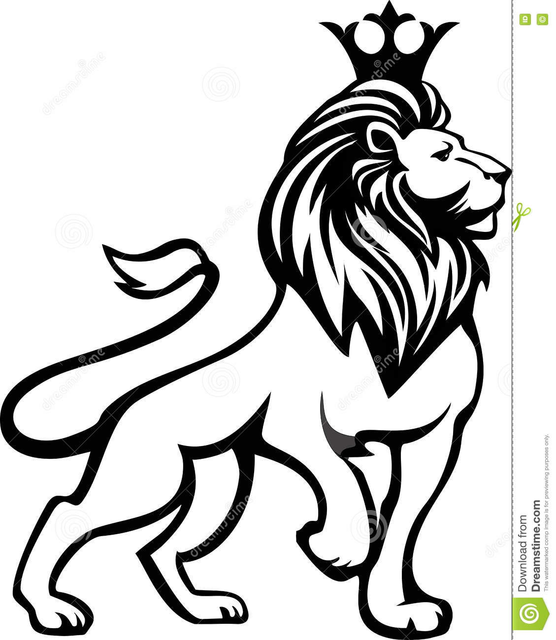 Black White Lion In Full Growth With A Crown On His Head