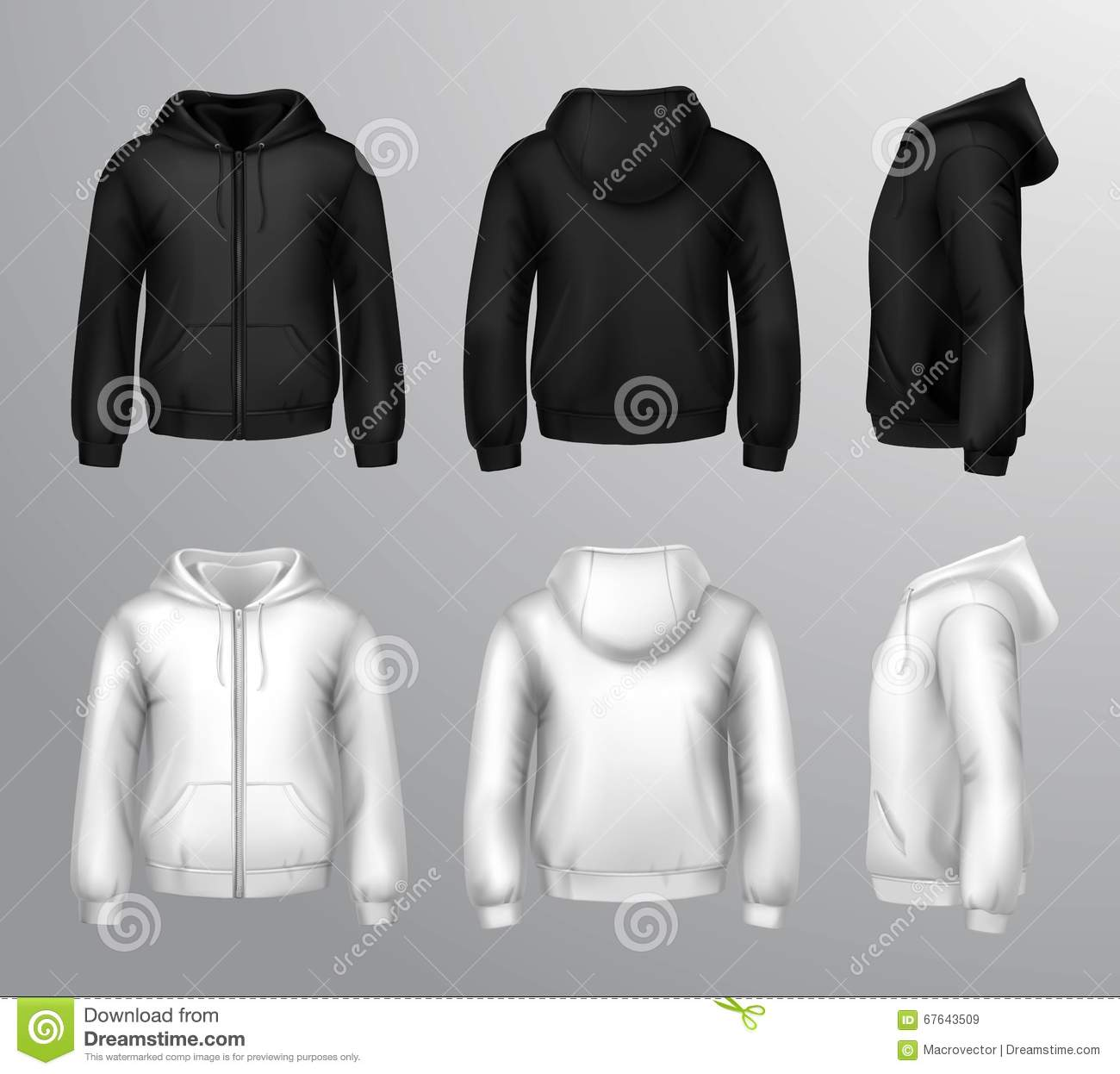 Black And White Male Hooded Sweatshirts Stock Vector