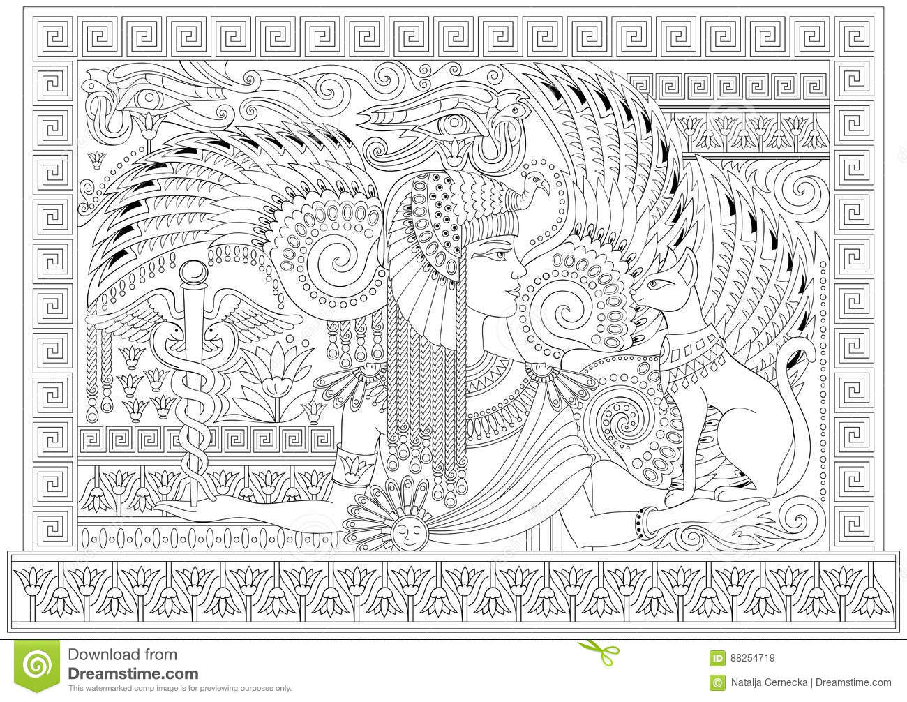 Black And White Page For Coloring With Egyptian Queen