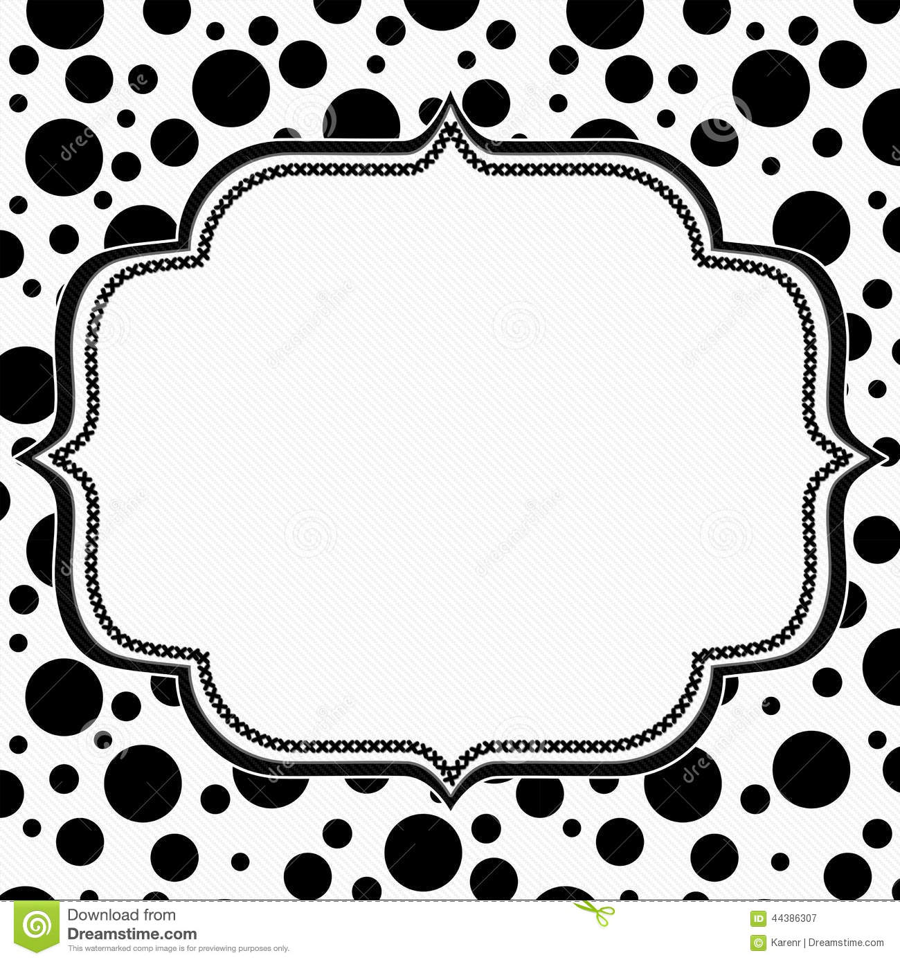 Black And White Polka Dot Background With Embroidery Stock