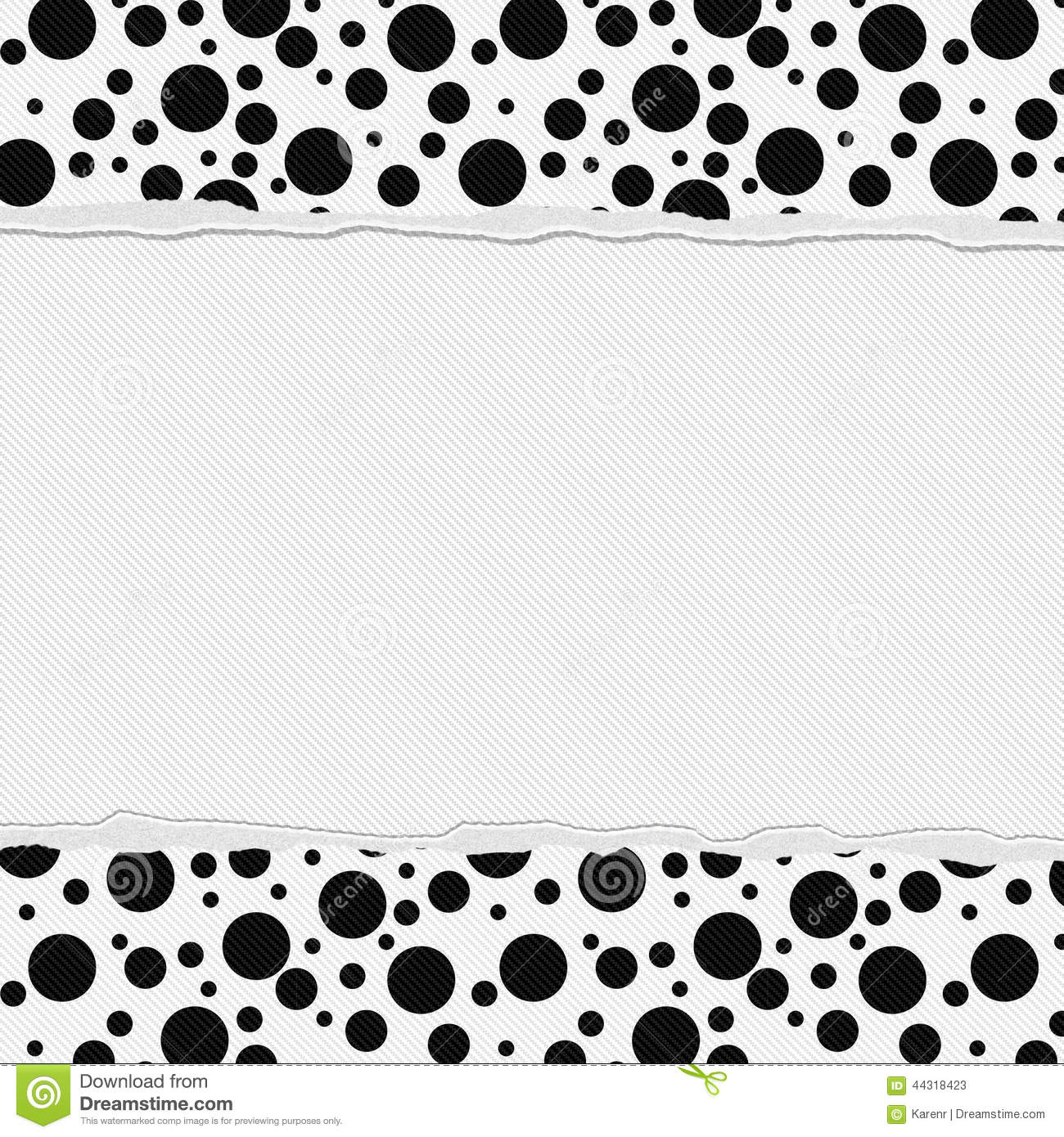 Black And White Polka Dot Frame With Torn Background Stock
