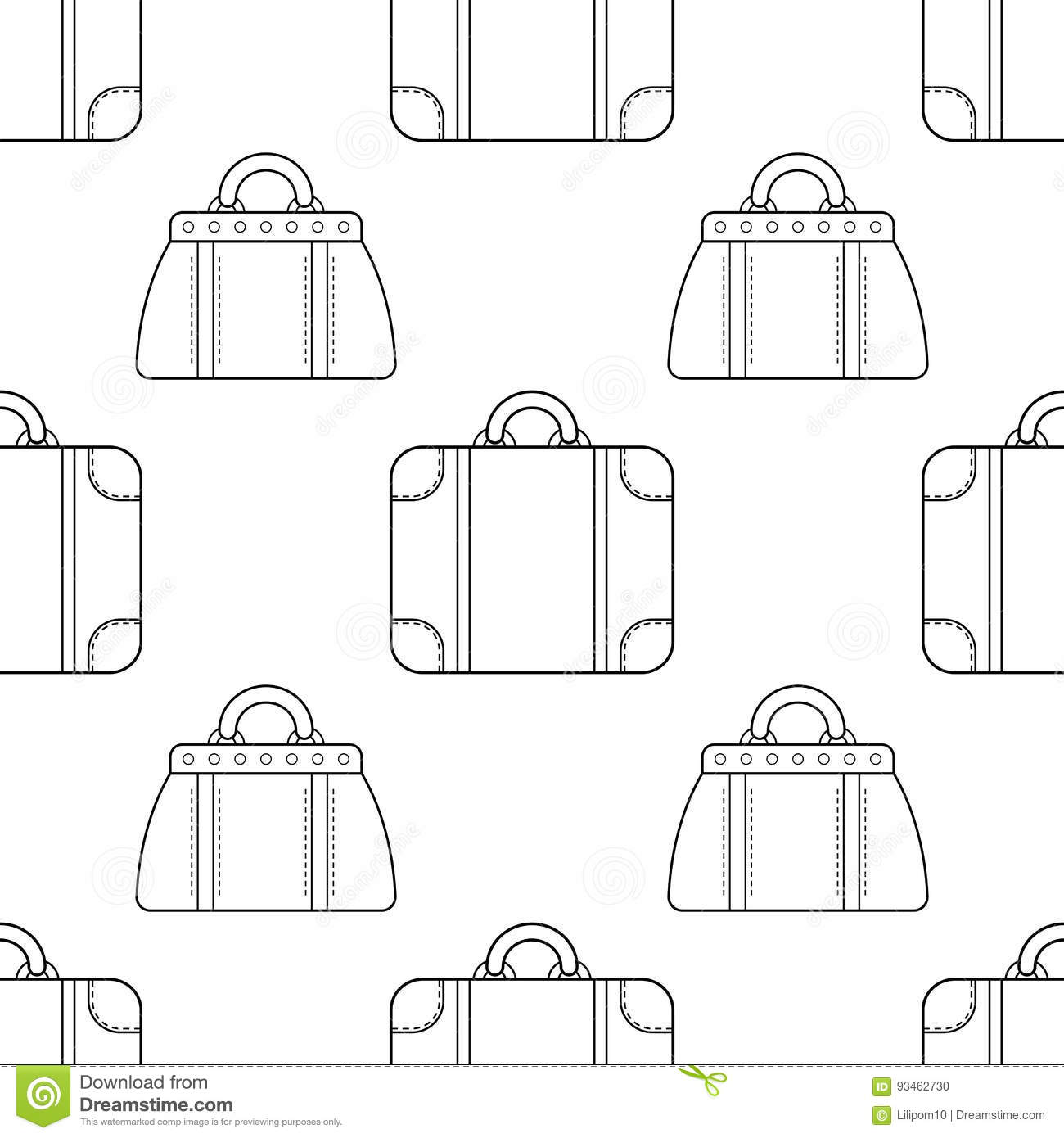 Black And White Seamless Pattern With Fashion Bags For Coloring Cartoon Vector
