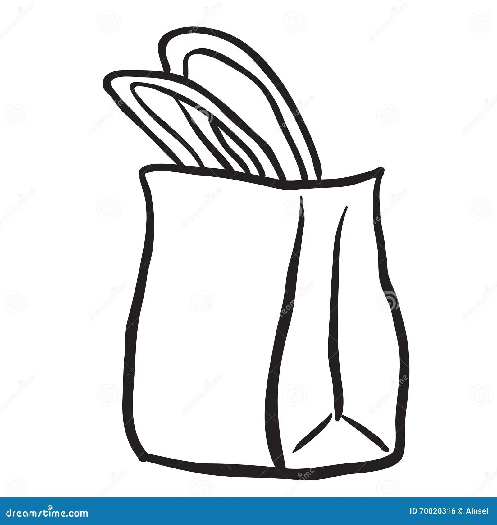 Black And White Shopping Bag Stock Illustration
