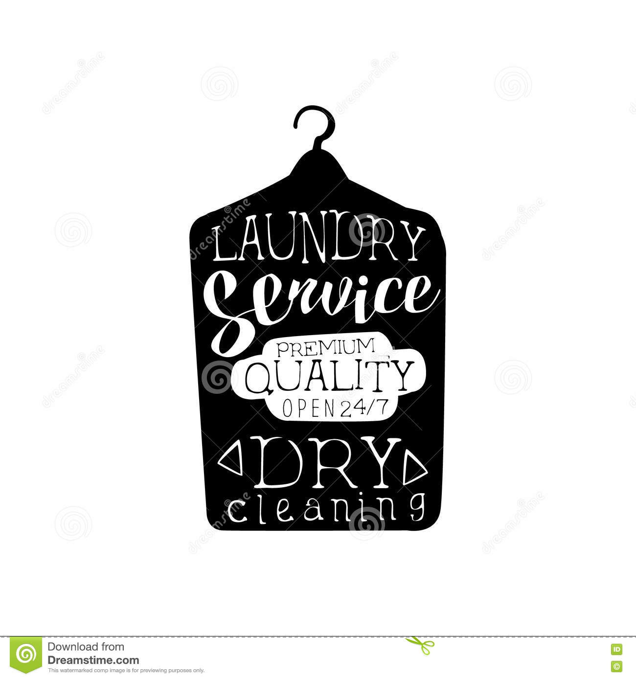 Black And White Sign For The Laundry And Dry Cleaning