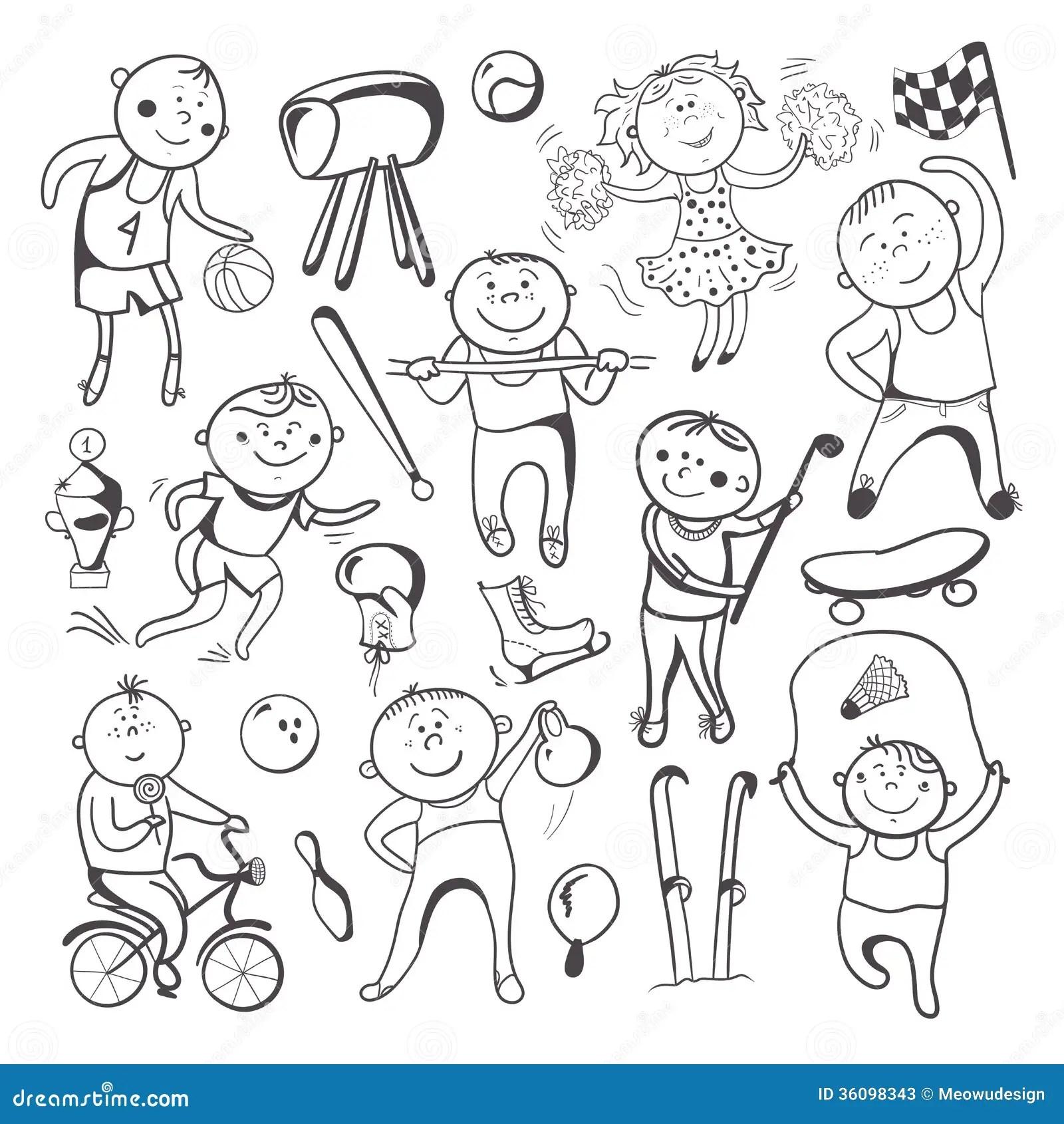 Black White Sketch Sport Players Stock Photos