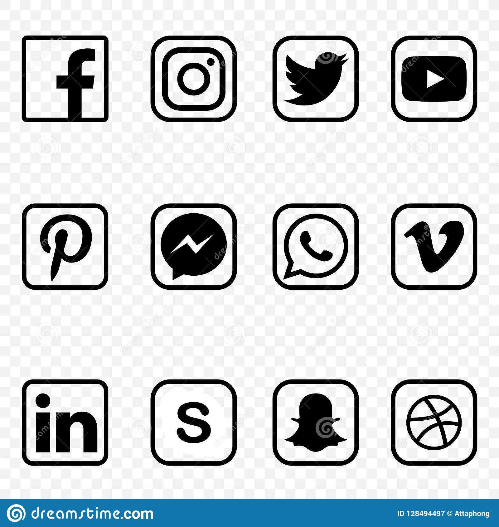Black And White Social Media Icons On Transparent