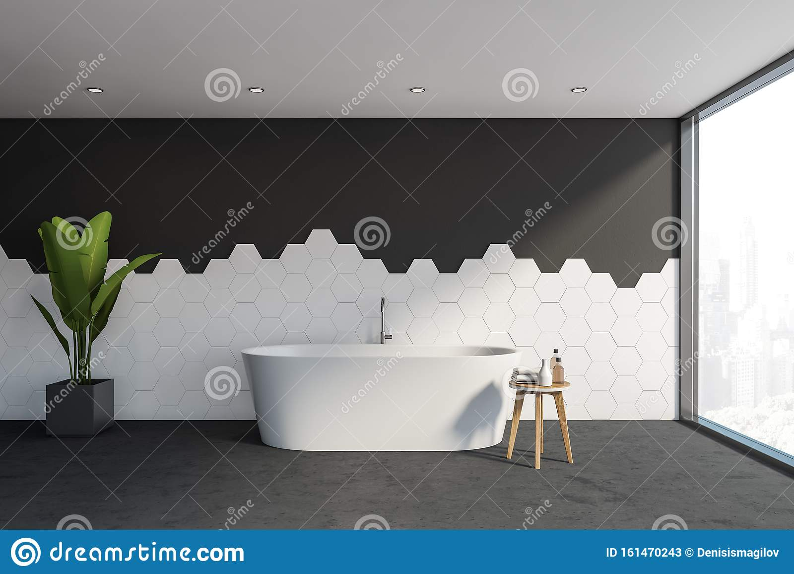 https www dreamstime com black white tile bathroom tub interior stylish panoramic hexagon walls concrete floor window comfortable bathtub d image161470243
