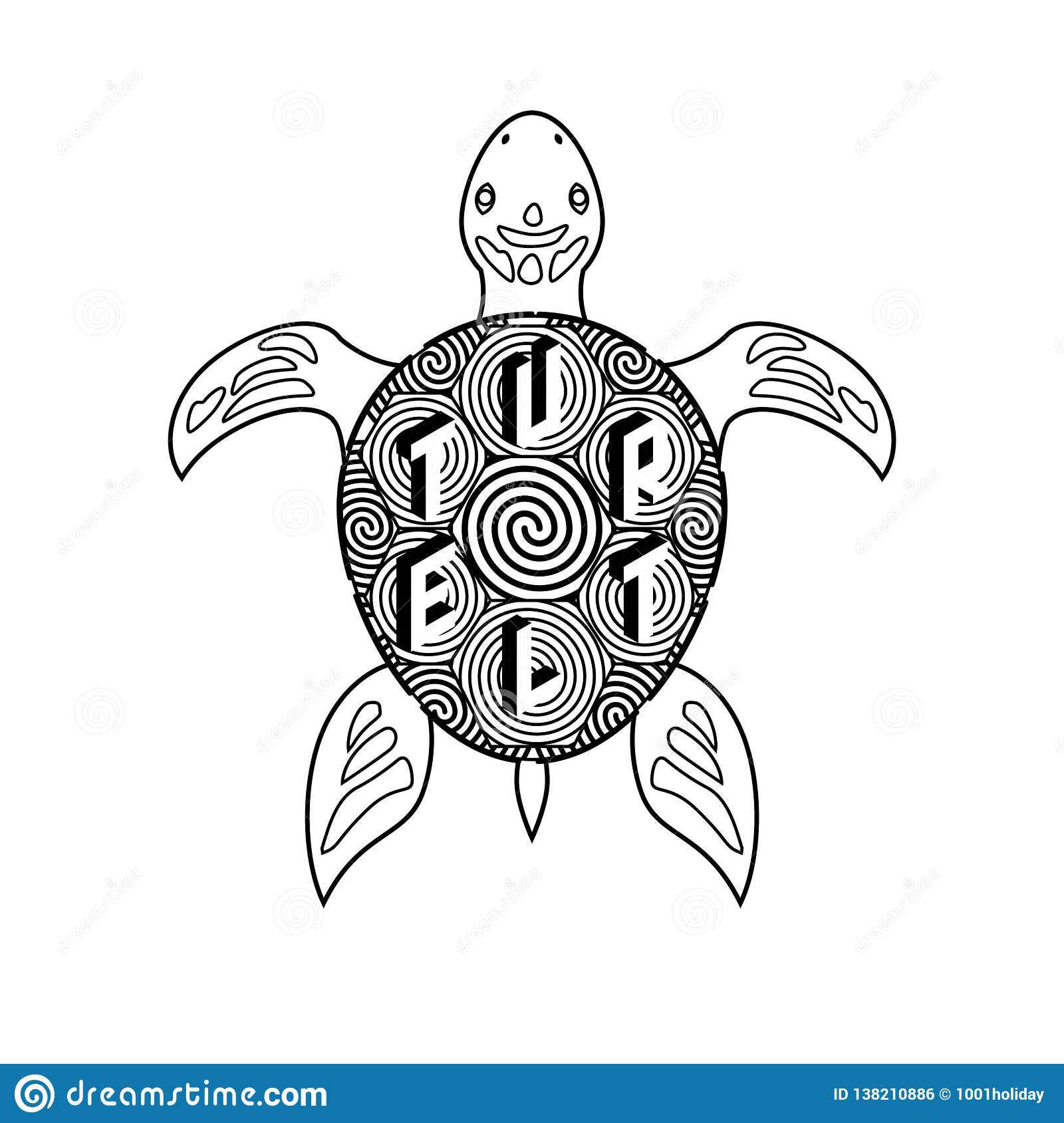 Black And White Vector Turtle Coloring Book Stock Vector