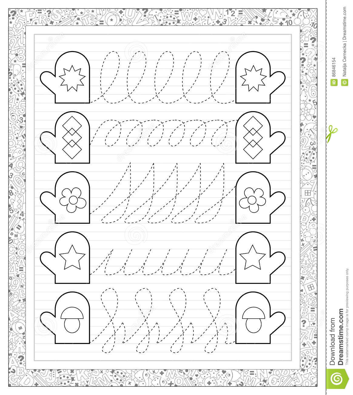 Black And White Worksheet In Line With Exercises For Little Children Need To Draw The Lines
