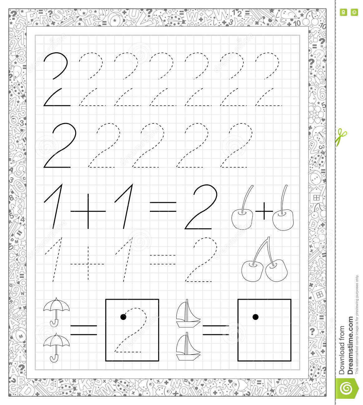 Black And White Worksheet On A Square Paper With Exercises For Little Children Page With Number