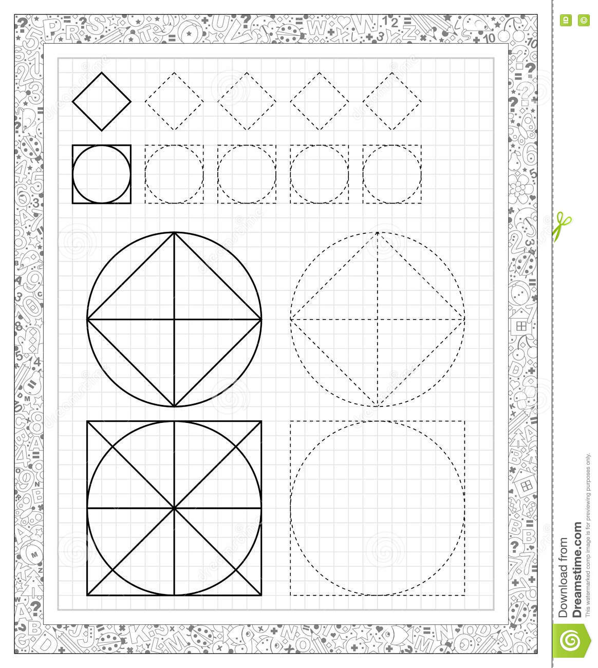 Black And White Worksheet On A Square Paper With Exercises