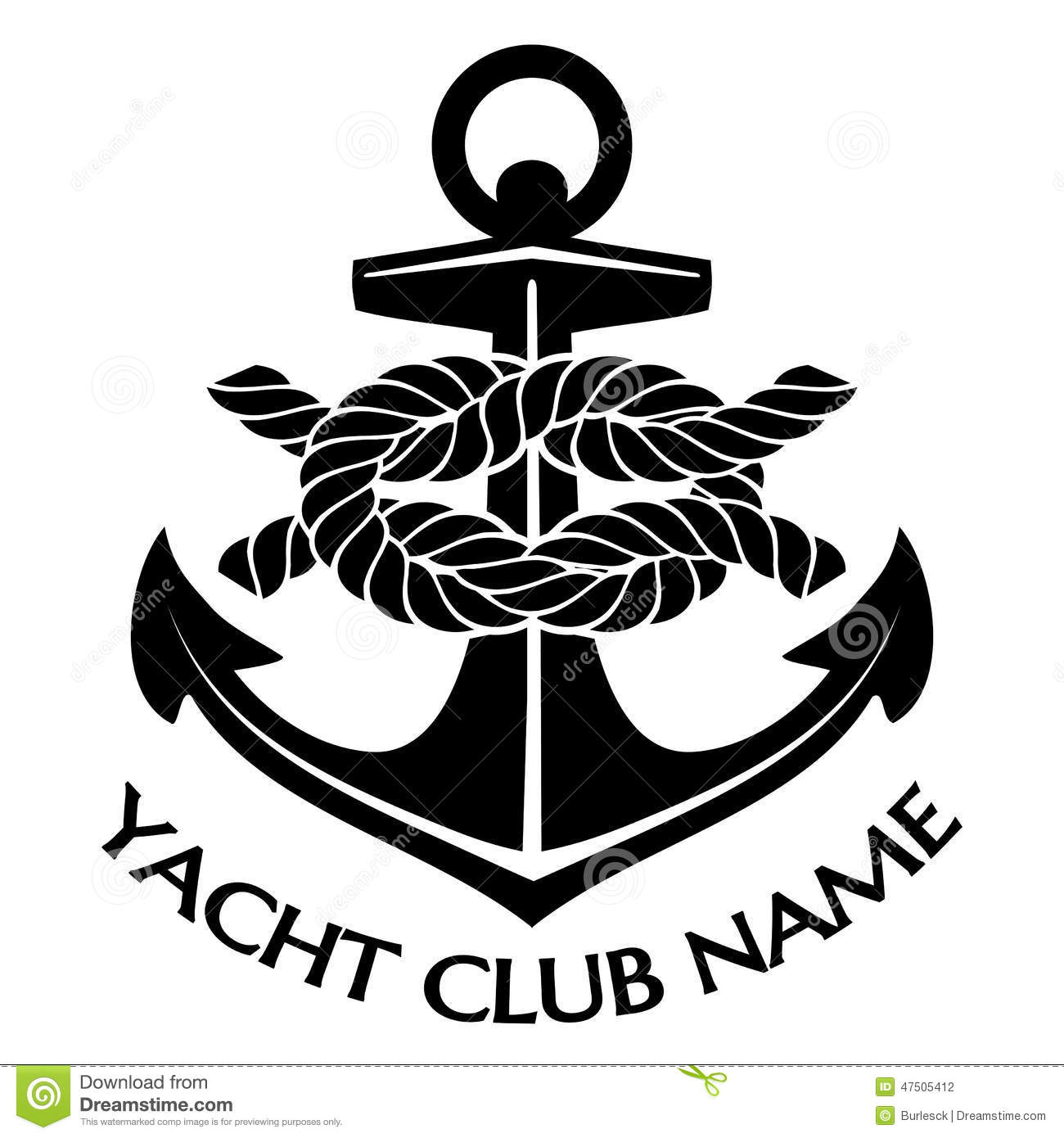 Black And White Yacht Club Logo Stock Vector