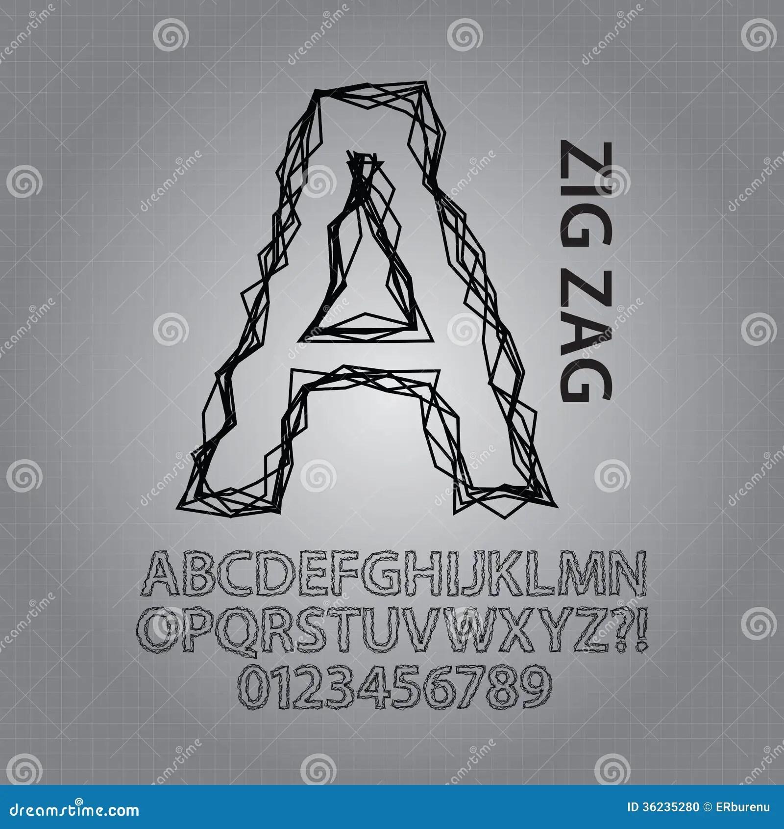 Black Zig Zag Alphabet And Numbers Vector Stock Photo