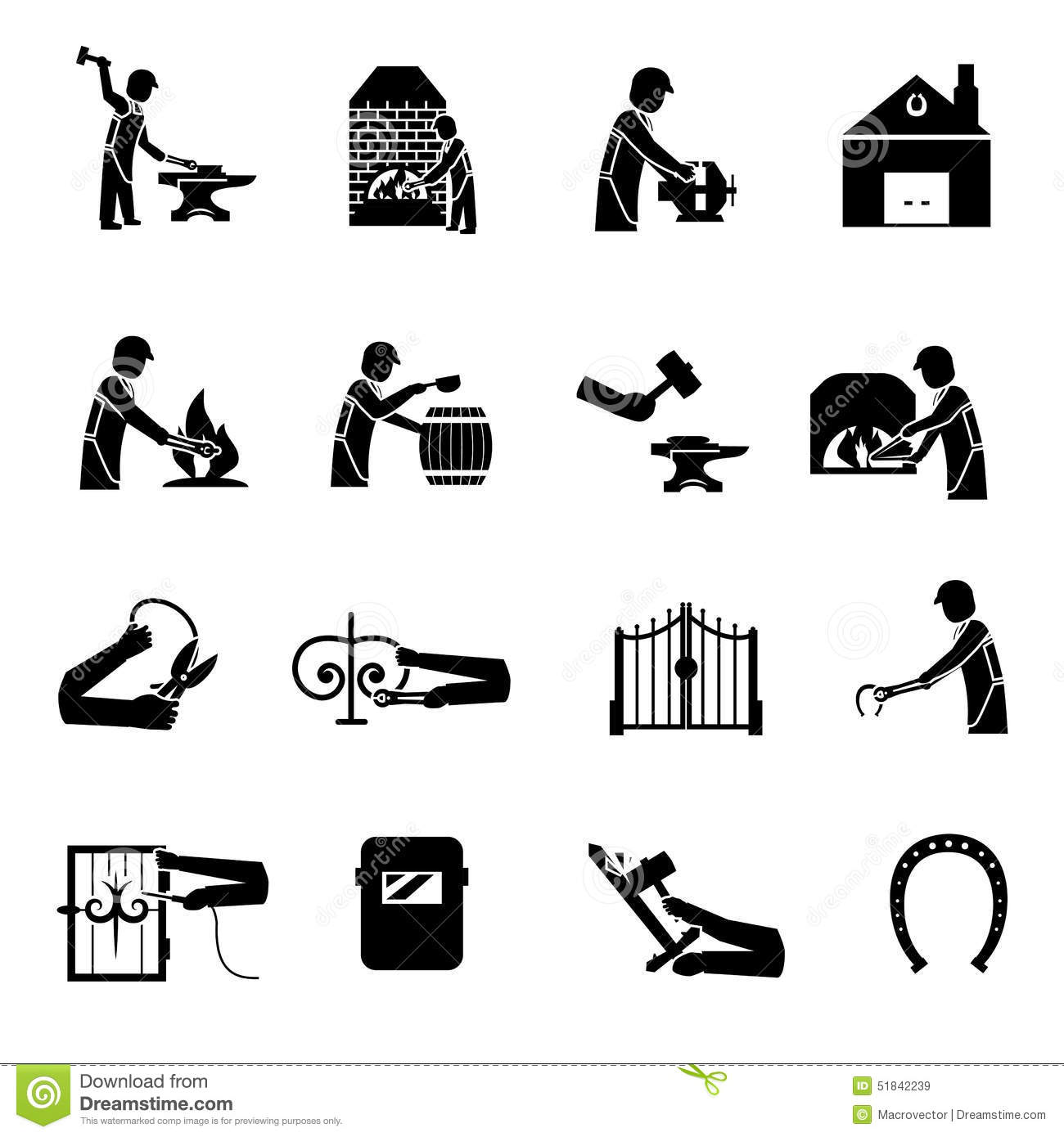 Blacksmith Icons Black Stock Vector Illustration Of