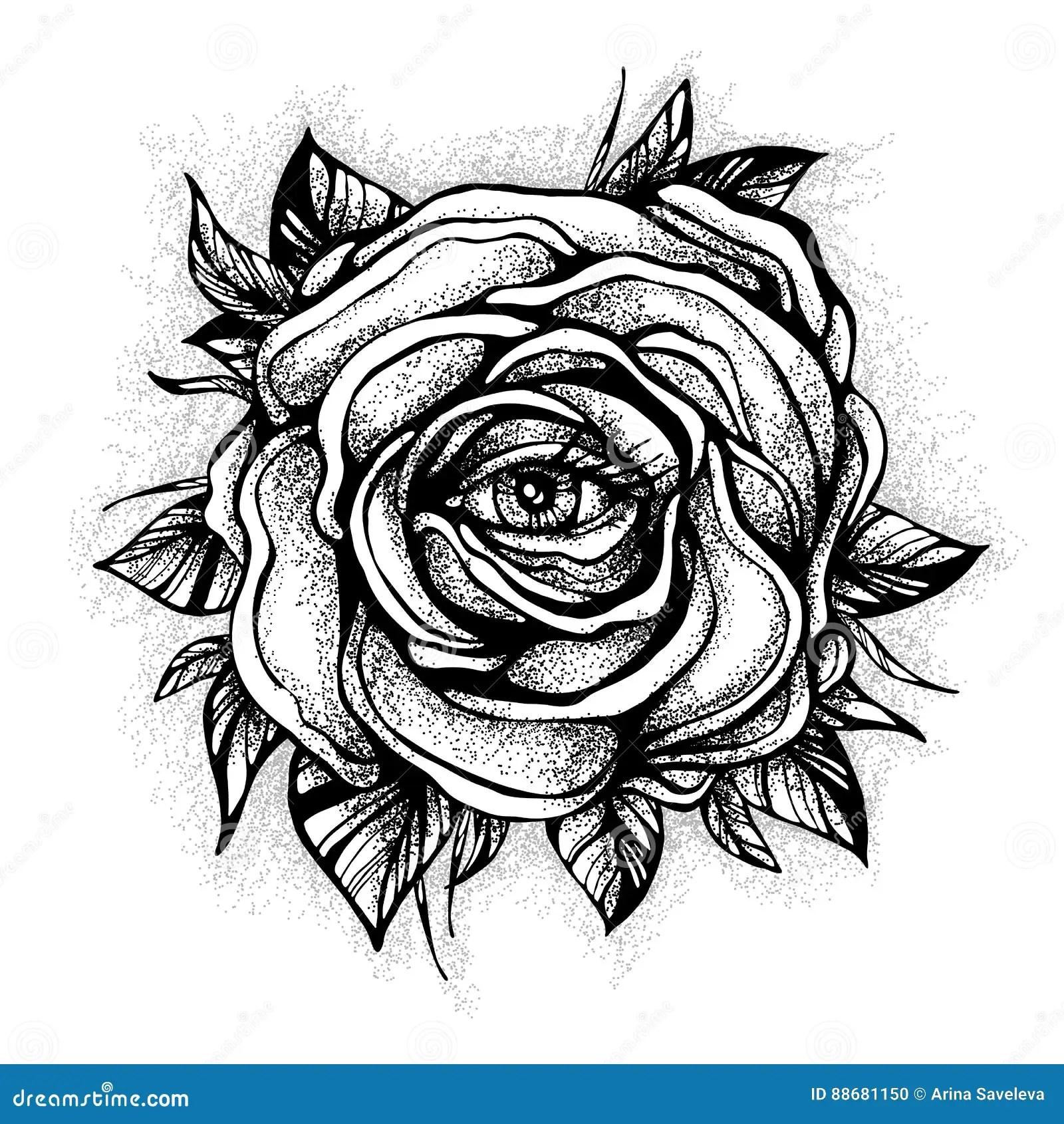 Blackwork Tatueringexponering Rosa Blomma Hogt Detaljerad Vektorillustration P Vit