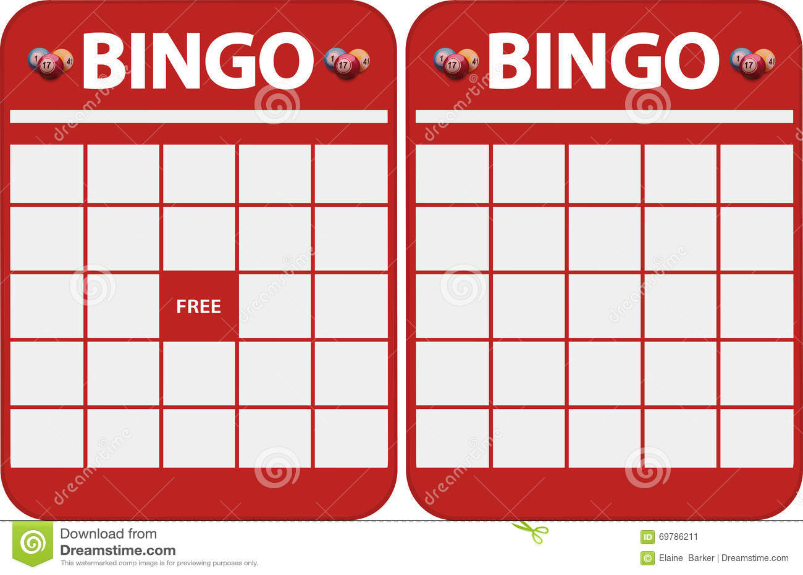 Blank Bingo Cards Stock Illustration Illustration Of