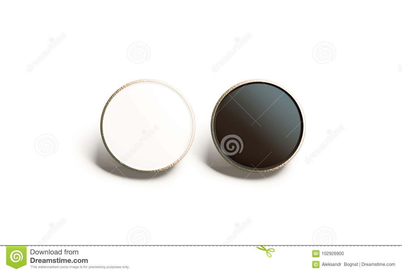 Blank Black And White Round Gold Lapel Badge Mock Up Stock