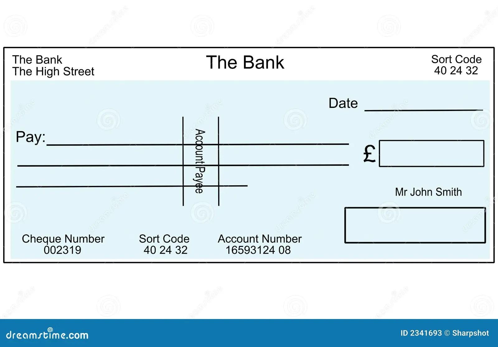 Blank British Cheque Stock Illustration Illustration Of Cheque