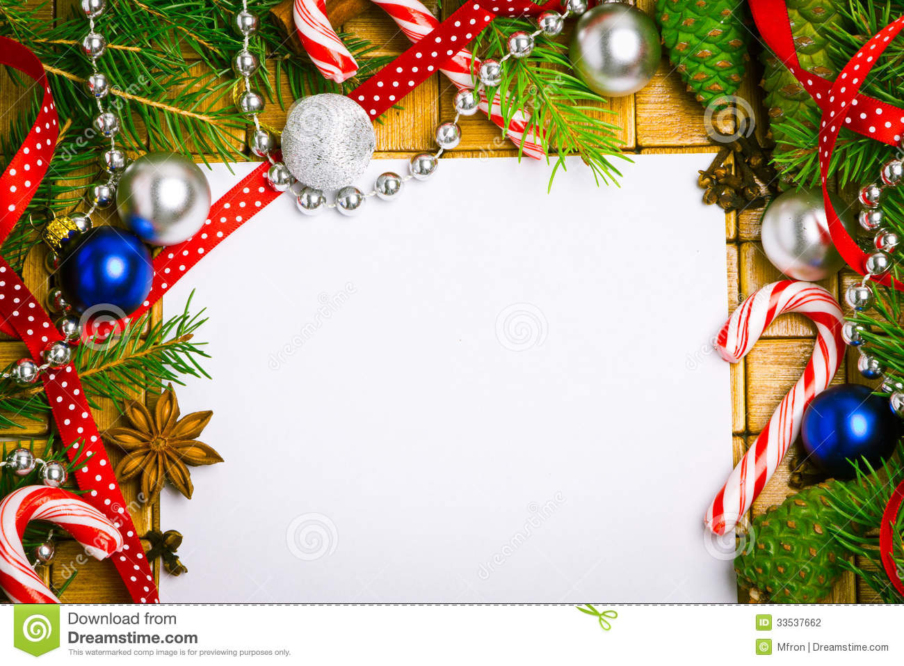 Blank Card For Christmas Greetings Stock Photo Image Of