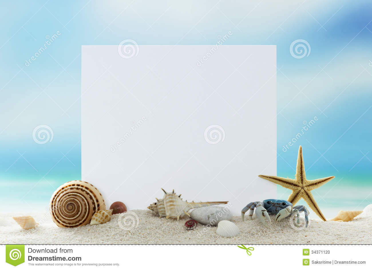 Blank Card On Sand Beach Stock Photo Image Of Background