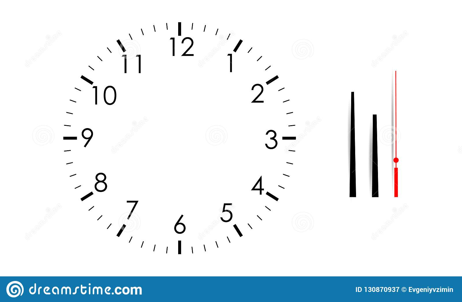 Blank Clock Face Mock Up With Hour Minute And Second