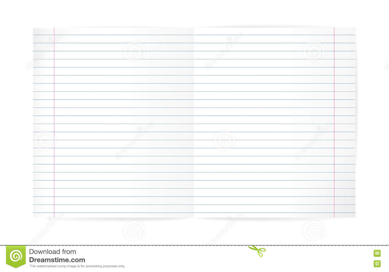 Blank Lined Notebook Sheet With Diagonal Lines And Red