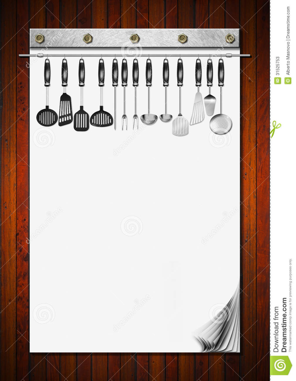 Blank Notebook With Kitchen Utensils Stock Photos Image