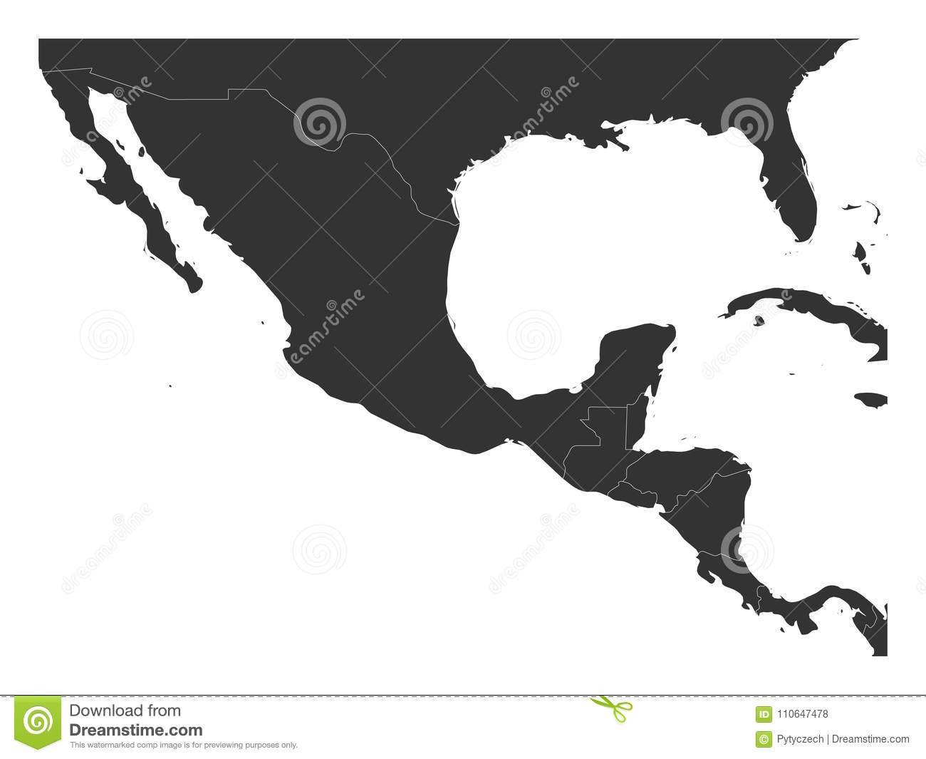 Blank Political Map Of Central America And Mexico Simple