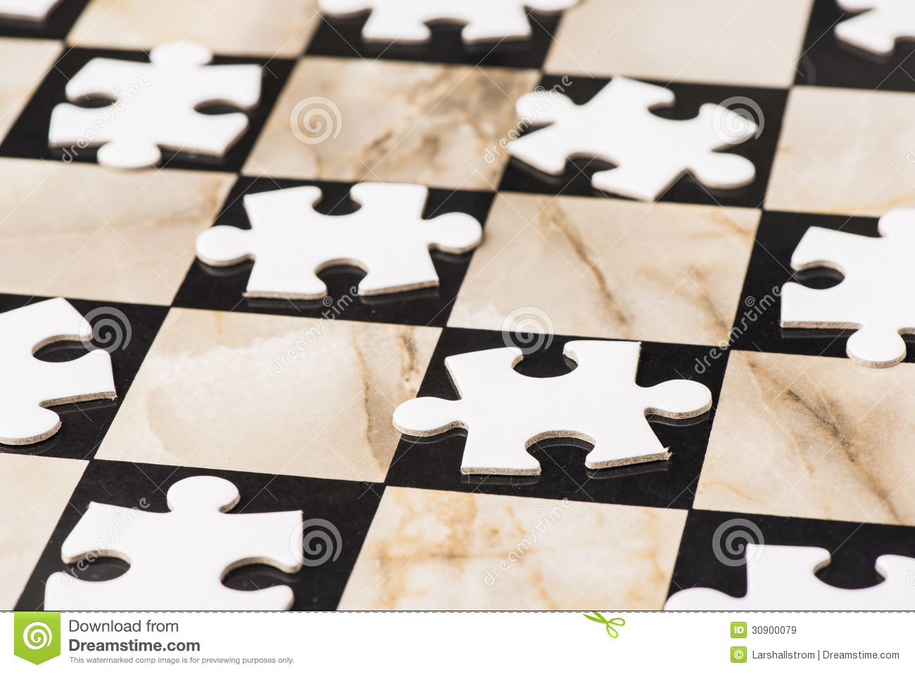 Blank Puzzle Pieces On Chess Board Stock Image