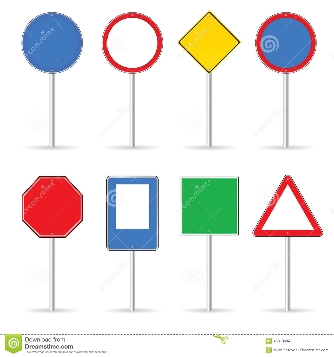 Blank Traffic Sign Set One Vector Illustration Stock