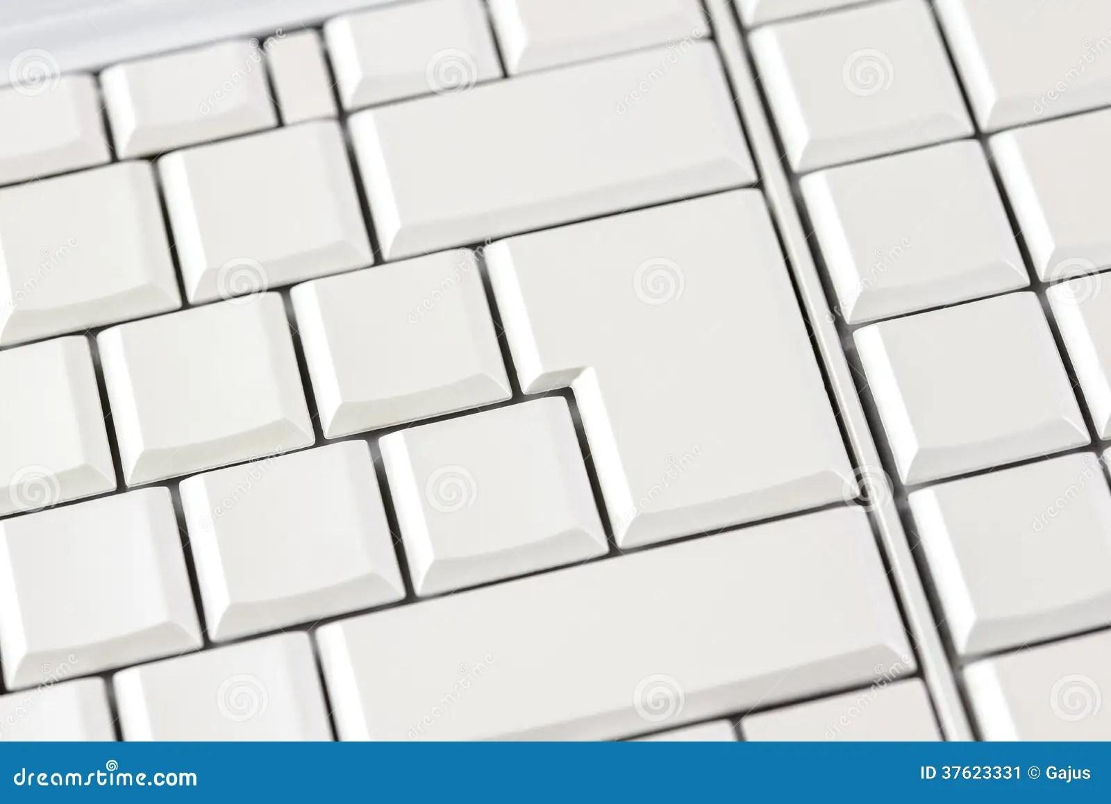Blank White Keys On A Computer Keyboard Stock Image