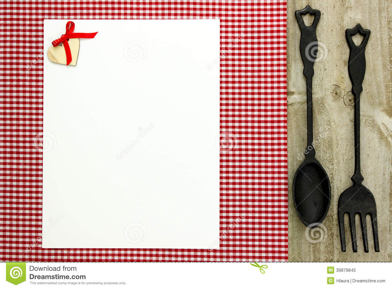 Blank White Menu Sign On Red Checkered Tablecloth With Cast Iron Spoon And Fork Stock Photo