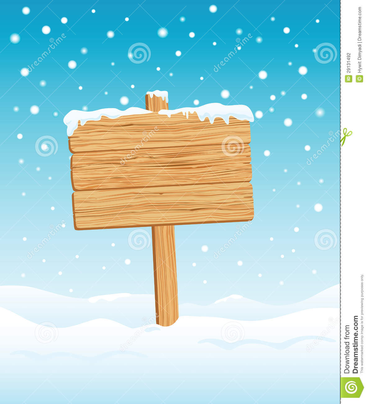 Blank Wooden Sign In Winter Stock Photography Image