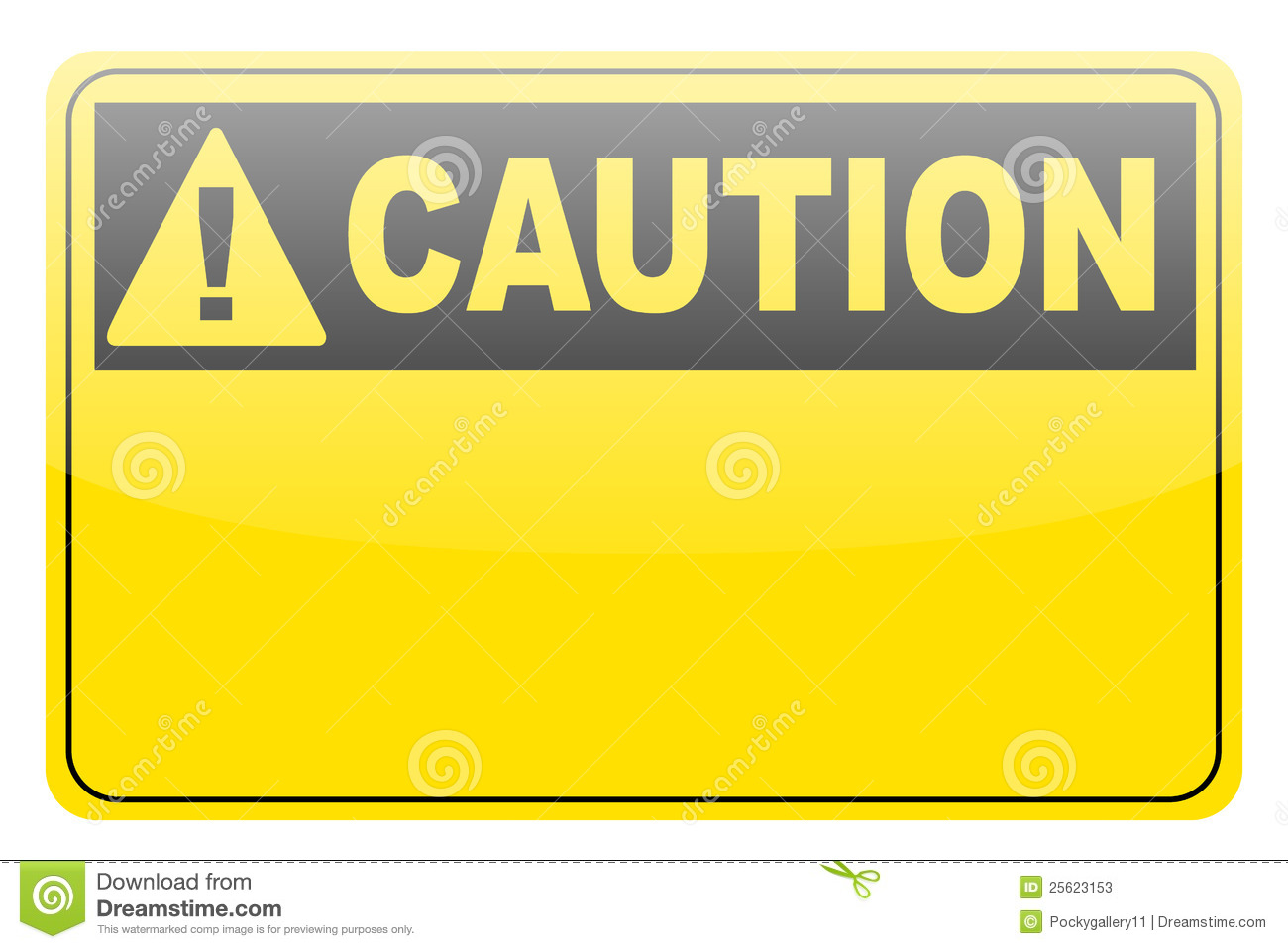 Blank Yellow Caution Label Sign Stock Vector