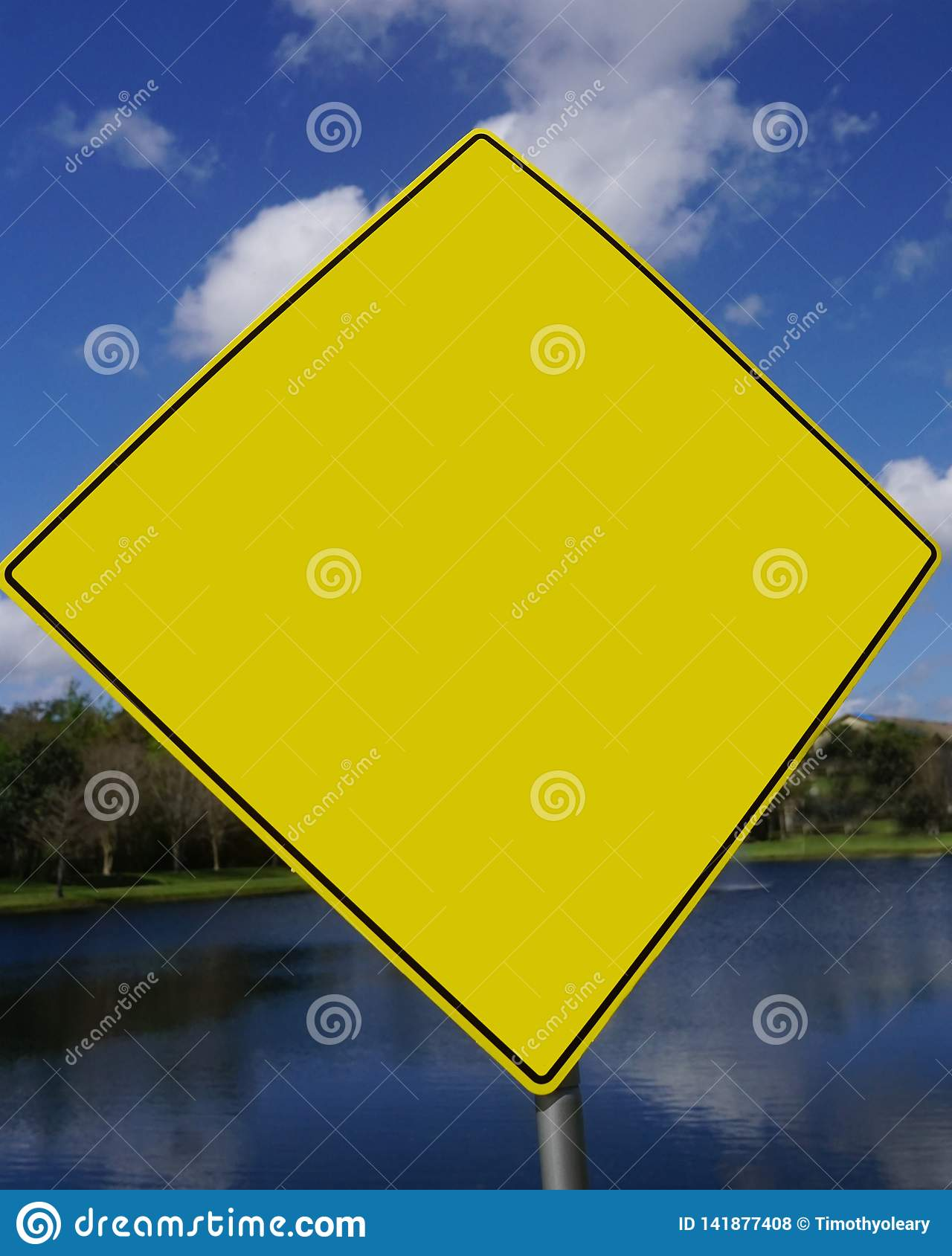 Blank Yellow Caution Sign For Use To Apply Graphics Or