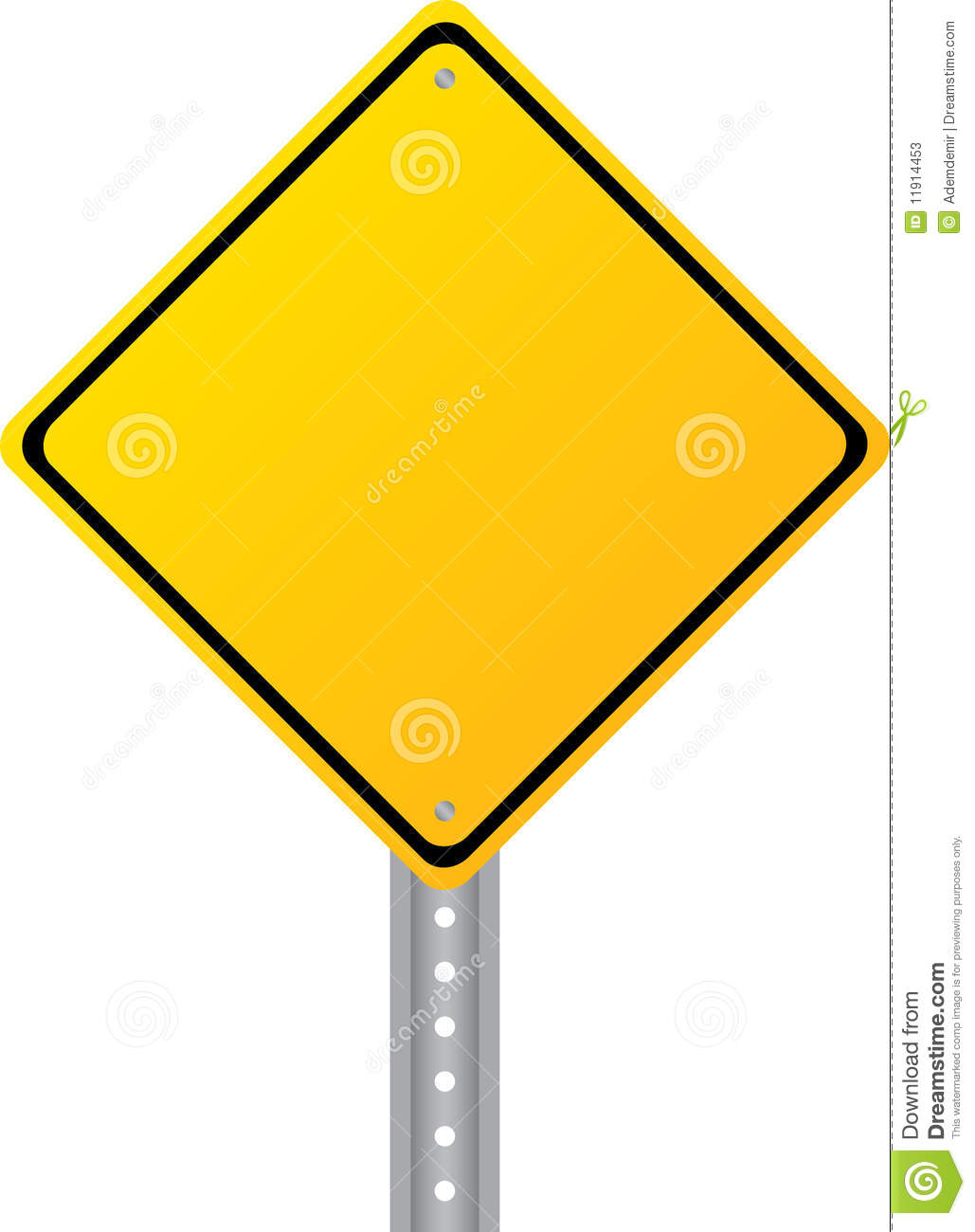 Blank Yellow Road Sign Isolated On White Stock Vector