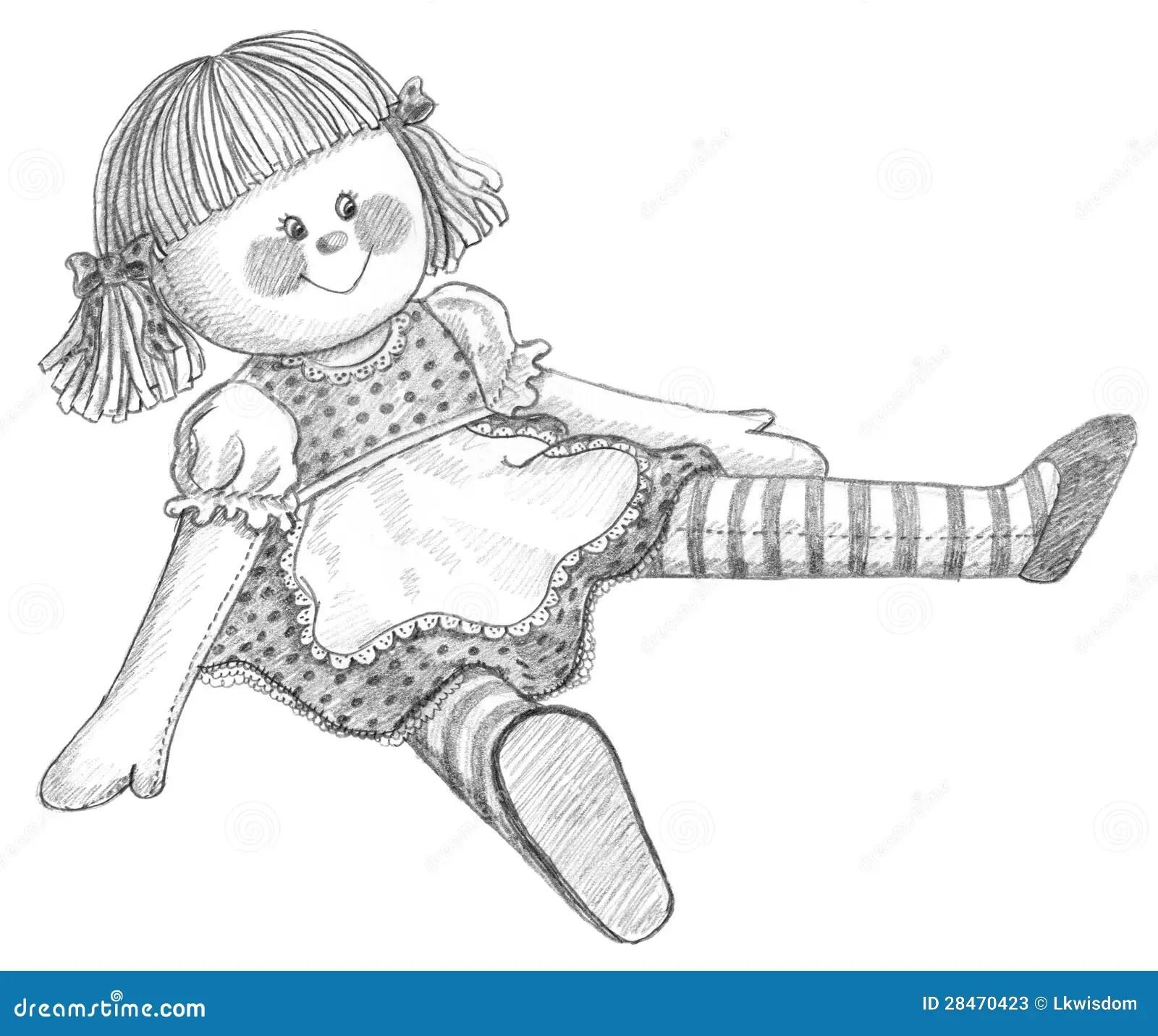 Bleistiftzeichnung Der Puppe Stock Abbildung